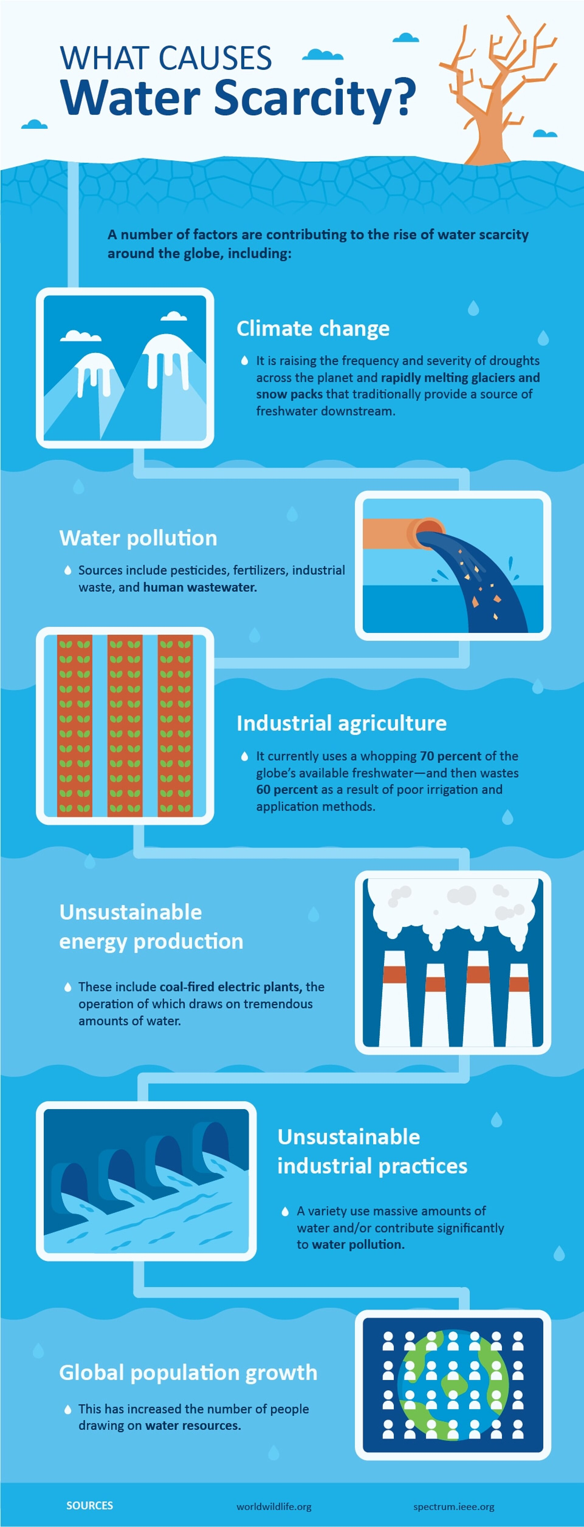 What causes water scarcity